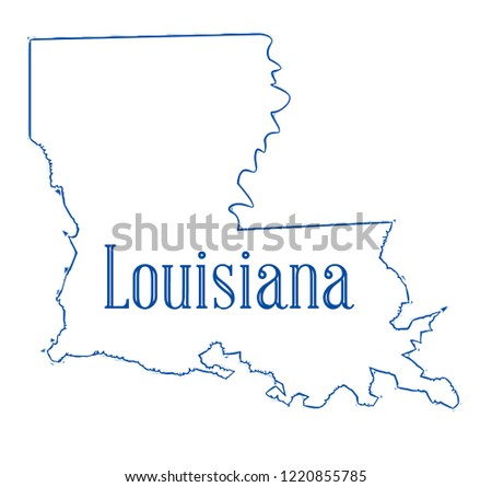 State Map Outline Louisiana Over White Stock Illustration Royalty