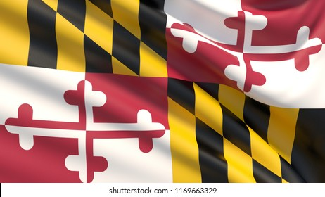 State of Maryland flag. Flags of the states of USA. Waved highly detailed fabric texture.