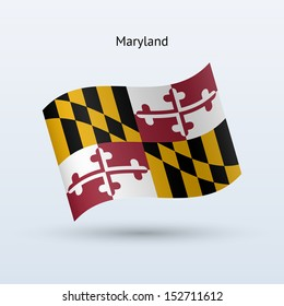 State of Maryland flag waving form on gray background. See also vector version.