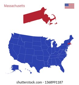 The State of Massachusetts is Highlighted in Red. Blue Map of the United States Divided into Separate States. Map of the USA Split into Individual States.