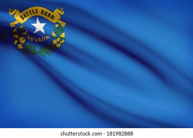 State of Nevada flag blowing in the wind. Part of a series.