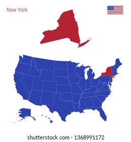 The State of New York is Highlighted in Red. Blue Map of the United States Divided into Separate States. Map of the USA Split into Individual States.