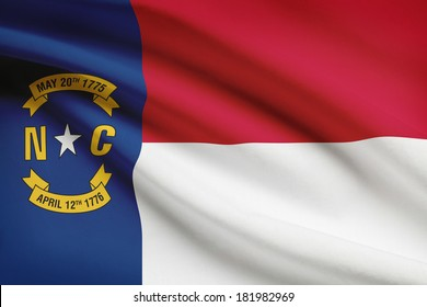State of North Carolina flag blowing in the wind. Part of a series.