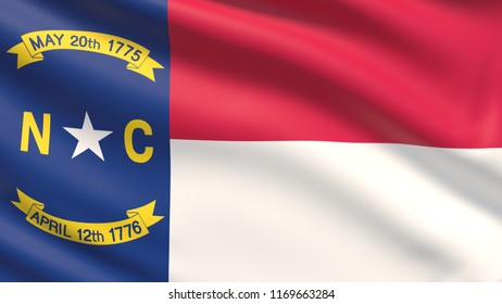 State of North Carolina flag. Flags of the states of USA. Waved highly detailed fabric texture.