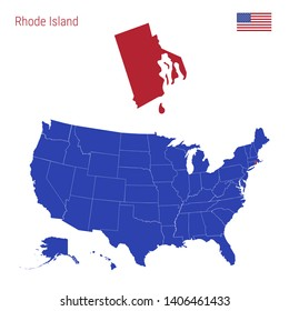 The State of Rhode Island is Highlighted in Red. Blue Map of the United States Divided into Separate States. Map of the USA Split into Individual States.