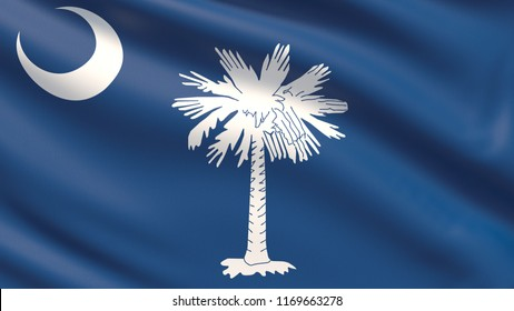State of South Carolina flag. Flags of the states of USA. Waved highly detailed fabric texture.