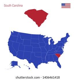 The State of South Carolina is Highlighted in Red. Blue Map of the United States Divided into Separate States. Map of the USA Split into Individual States.