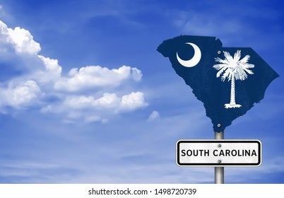 State South Carolina map flag - road sign