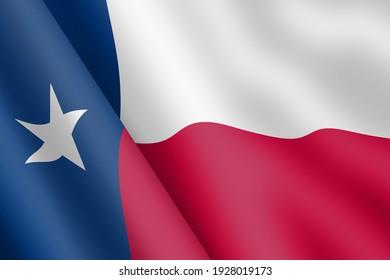 State of Texas flag 3d illustration wind ripple