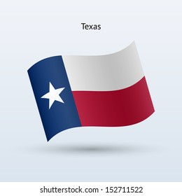 State of Texas flag waving form on gray background. See also vector version.