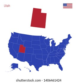 The State of Utah is Highlighted in Red. Blue Map of the United States Divided into Separate States. Map of the USA Split into Individual States.