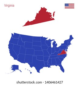 The State of Virginia is Highlighted in Red. Blue Map of the United States Divided into Separate States. Map of the USA Split into Individual States.