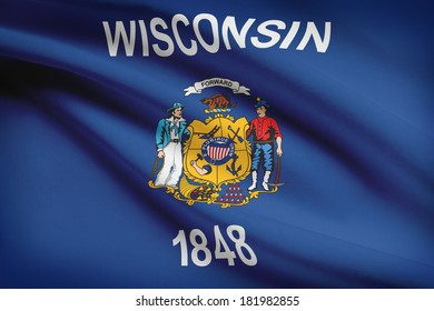 State of Wisconsin flag blowing in the wind. Part of a series.