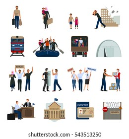 Stateless refugees flat icons set with illegal immigrants camps embassy building foreign passport symbols isolated  illustration