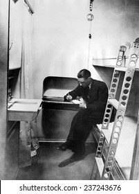 Stateroom on the dirigible Hindenburg The cabin is equipped with hot and cold running water, March 17, 1936.