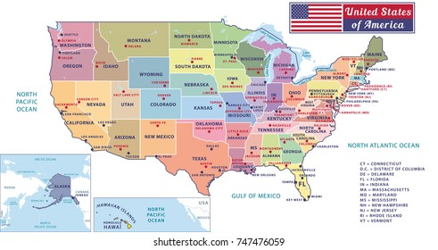 States Capitals Major Cities United States Stock Illustration ...