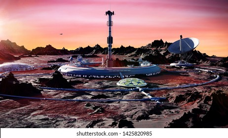 station on Mars surface, first martian colony in desert landscape on the red planet (3d space rendering)