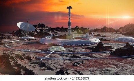 station on Mars surface, first martian colony in desert landscape on the red planet (3d space render)
