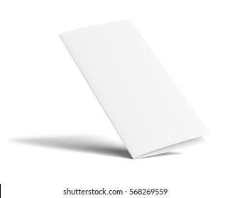 Stationary positioned blank two fold paper brochure on white background. 3D Illustration