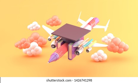 Stationery aircraft surrounded by clouds on an orange background.-3d rendering.
