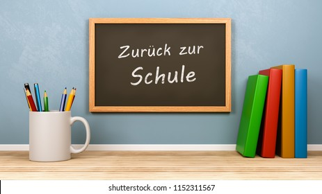 Stationery, Books and Blackboard with Back to School Text in German Language 3D Render