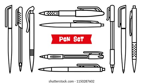 Stationery collection. Writing tools. Pens set. Outline style. Ballpoint thin line icons. Biro, Fountain pen, gel pen, ballpoint pen, capillary pen. Back to school. Writing materials illustration