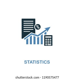 Statistics icon in two colors. Creative style design from online marketing collection. UX and UI. Pixel perfect statistics icon. For web design, apps, software, printing usage.