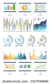 Statistics in visual form, charts and flowcharts raster. Presentation whiteboard with schemes, analyzed data infographics. Pie diagram with segments