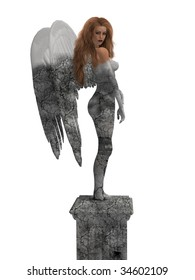 Statue of an angel coming to life