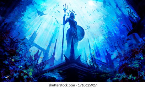 A statue of the Greek goddess with a shield and a trident, stands in an underwater city surrounded by fish and corals, against the background of the water kingdom is painted in a dynamic perspective .