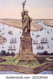 The Statue of Liberty (aka The Great Bertholdi Statue), lithograph by Currier & Ives, 1885