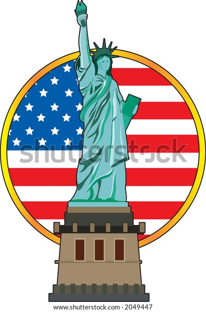 The Statue of Liberty with the American flag in the background