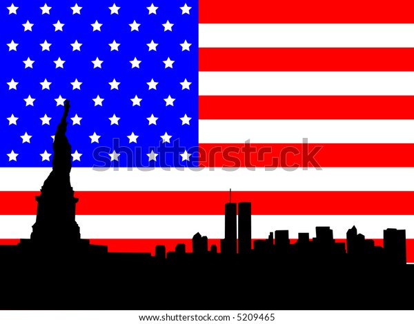 Statue of Liberty and former Lower Manhattan skyline against American flag JPG