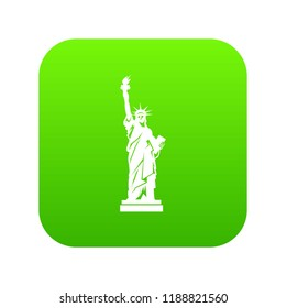 Statue of liberty icon digital green for any design isolated on white illustration