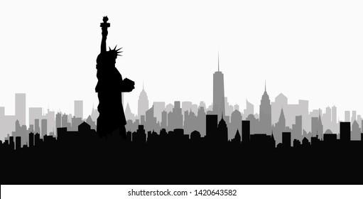 Statue of Liberty & Morning New York Skyline