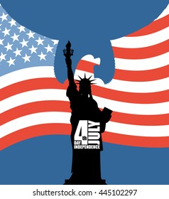 Statue of Liberty on background of American flag. Independence Day of USA. Eagle with wings on silhouette of figure. National holiday in United States. Patriotic for July 4th celebration