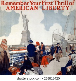 Statue of Liberty. Poster showing immigrants on a ship's deck, sailing past the Statue of Liberty. color lithograph, 1917