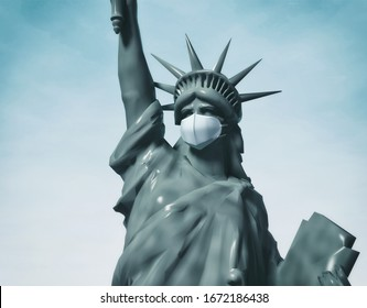Statue of Liberty in protective medical mask. COVID-19 coronavirus quarantine. Air pollution. 3d rendering illustration