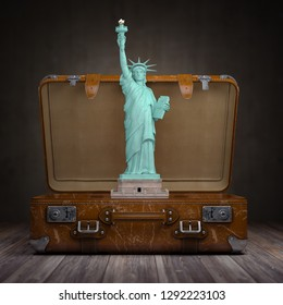 Statue of liberty and vintage suitcase. Travel and tourism  to NY New York city and USA concept. 3d illustration