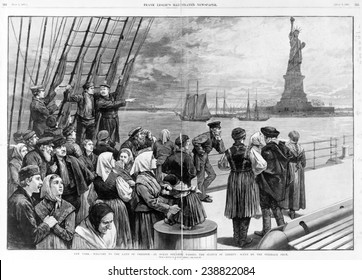 Statue of Liberty. Welcome to the land of freedom - An ocean steamer passing the Statue of Liberty: Scene on the steerage deck. Engraving ca. 1887
