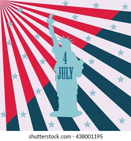statue of liberty white rays Star inscription July 4 th art abstract modern creative illustration of red and blue background  bitmap image