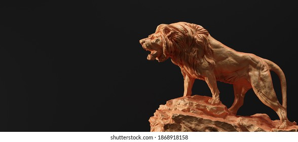 Statue of lion roaring, a clay sculpture. Concept of a strength power and staying proud. 3D illustration