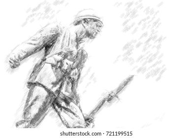 statue of a soldier of First World War leaning forward holding a bayonet rifle