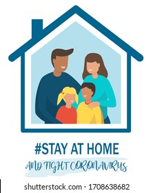 Stay at home awareness social media campaign and coronavirus prevention. Family smiling and staying together