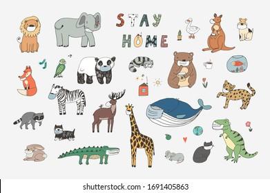 Stay home coronavirus healhcare hand drawn doodle animals illustrations set