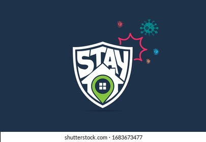 Stay Home, COVID-19, stay home in COVID-19 Coronavirus Outbreak, Work from Home, Stay Home typography in a Shield protected from Coronavirus. Vector Illustration.