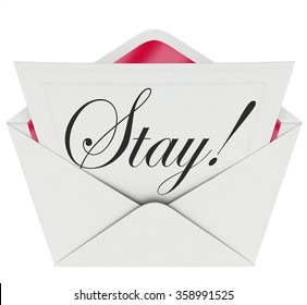 Event word cursive script writing on stock illustration 207486640 stay word on an invitation in open envelope pleading to retain customers employees or an stopboris Image collections