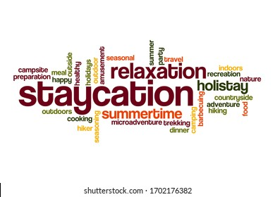 Staycation word cloud concept on white background