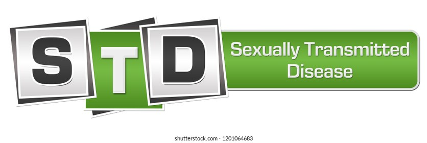 STD - Sexually Transmitted Disease text written over green grey background.