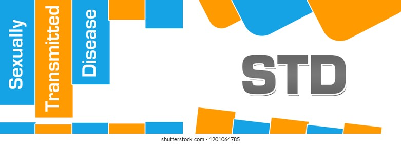 STD - Sexually Transmitted Disease text written over blue orange background.